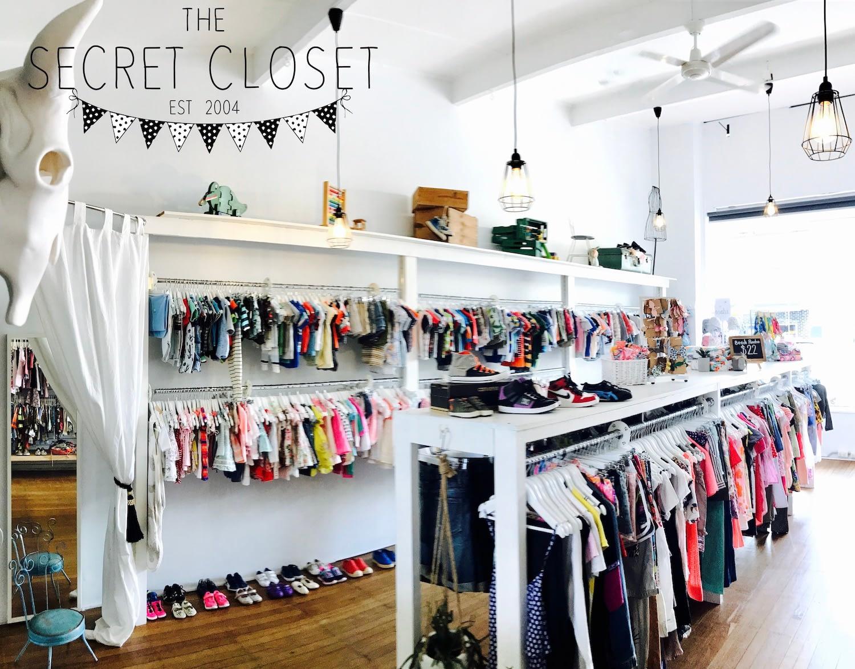 childrens clothing hanging on racks secret closet branding
