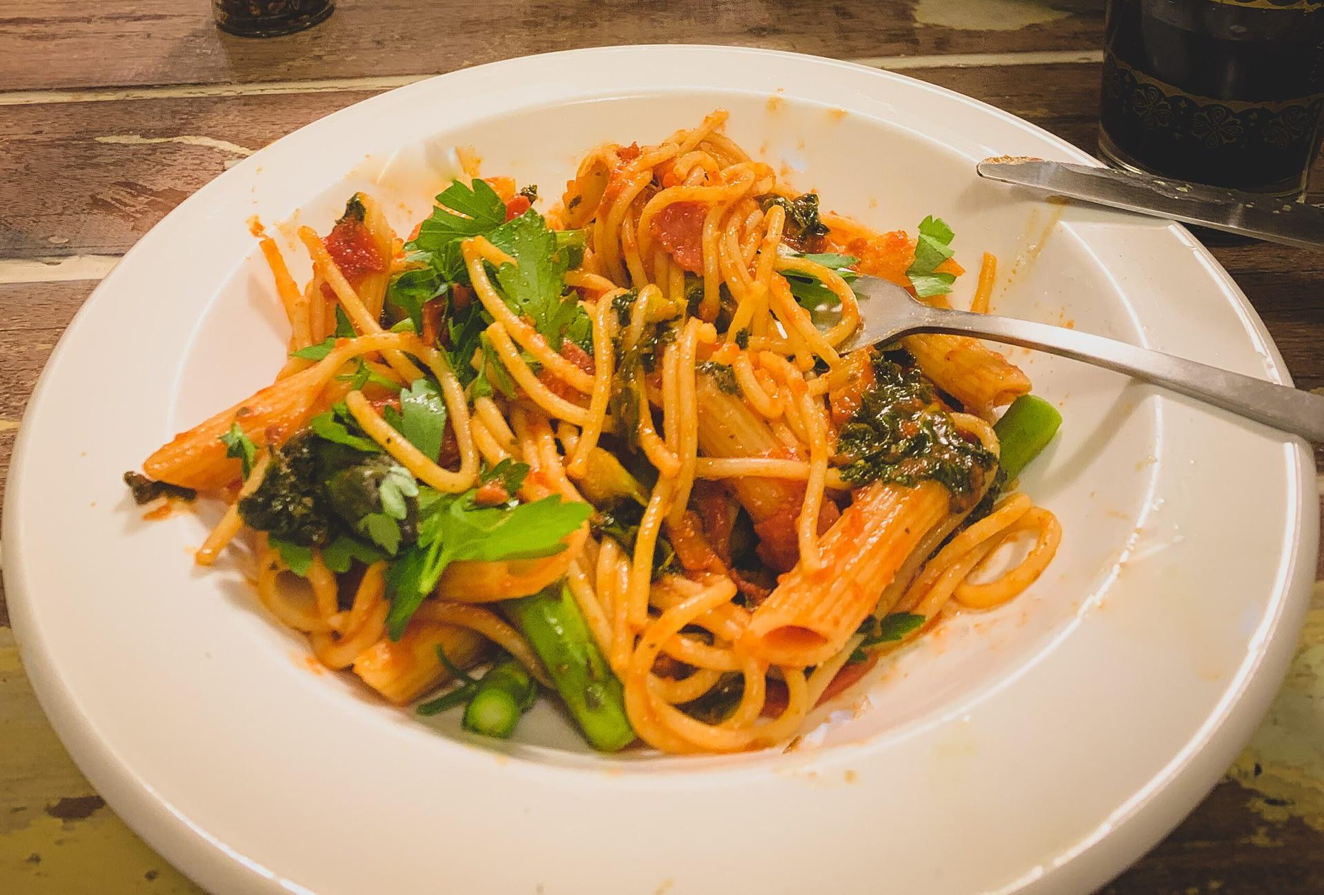 Tasty Tomato, Olive, Salami Spaghetti