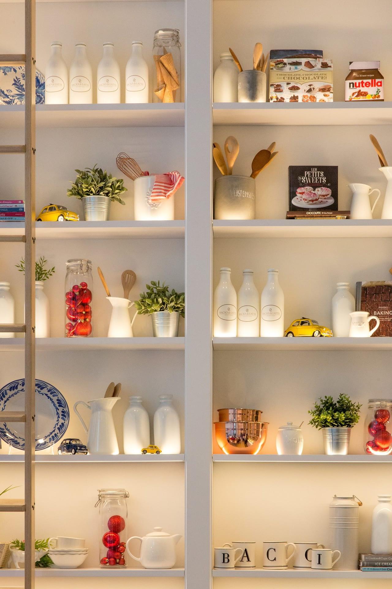 wall shelves food storage jars